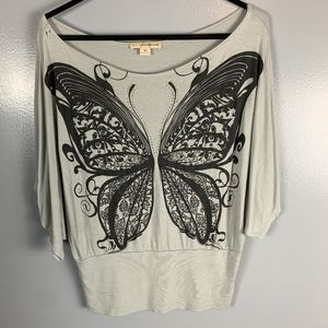 Gray Butterfly Top